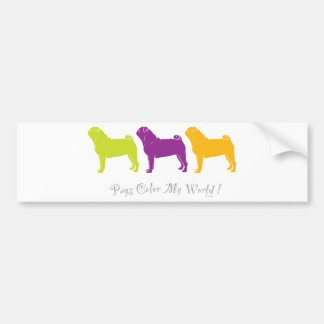 Pugs Color My World Car Bumper Sticker