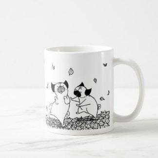 Pugs Dancing in Leaves Coffee Mug