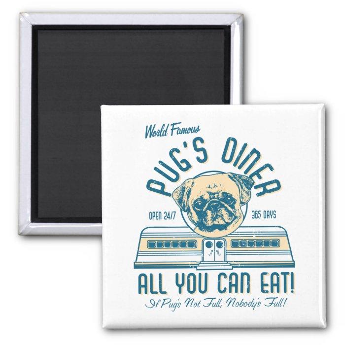 Pug's Diner 50s Retro Vintage Magnets