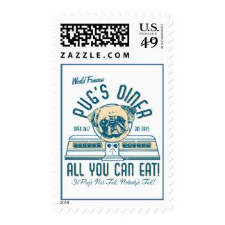 Pug's Diner 50s Vintage Retro Postage Stamps
