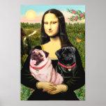 Pugs (Fawn + Black) - Mona Lisa Poster