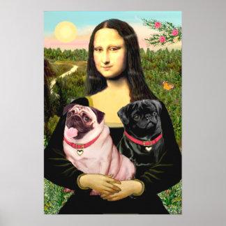 Pugs Fawn + Black - Mona Lisa Posters
