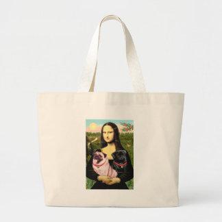 Pugs (Fawn + Blk) - Mona Lisa Large Tote Bag