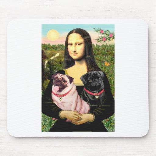 Pugs (Fawn + Blk) - Mona Lisa Mouse Pad