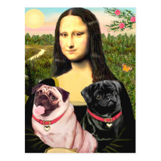 Pugs (Fawn + Blk) - Mona Lisa Postcard