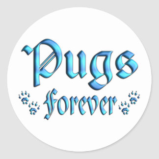 Pugs Forever Round Stickers