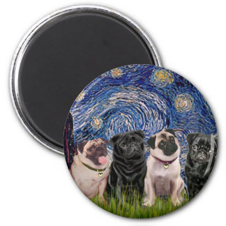 Pugs (Four,2B,2F) - Starry Night 2 Inch Round Magnet