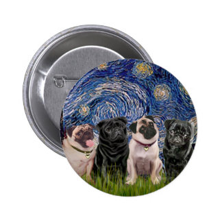 Pugs Four 2B 2F - Starry Night Buttons