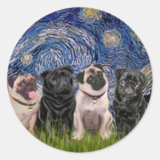 Pugs (Four,2B,2F) - Starry Night Classic Round Sticker