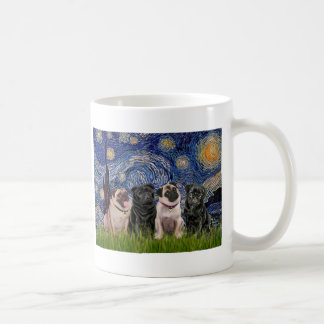 Pugs (Four,2B,2F) - Starry Night Coffee Mug