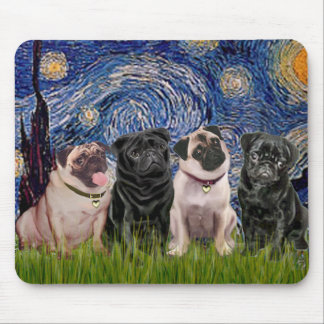 Pugs (Four,2B,2F) - Starry Night - Customized Mouse Pad
