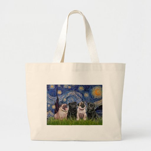 Pugs (Four,2B,2F) - Starry Night Large Tote Bag