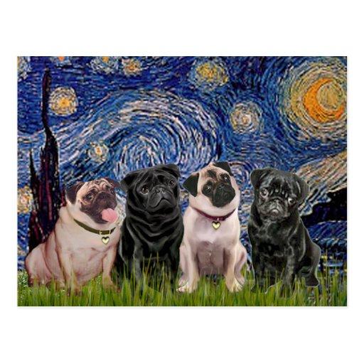 Pugs (Four,2B,2F) - Starry Night Postcard