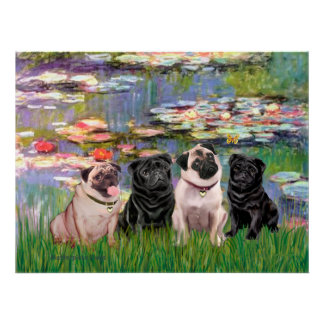 Pugs Four - Lilies2 Poster