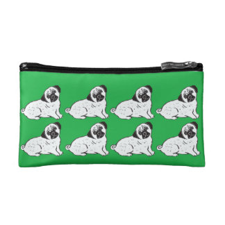 Pugs Green Cosmetic and Accessory Bag