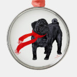 Pugs in Red Scarf Christmas Ornaments
