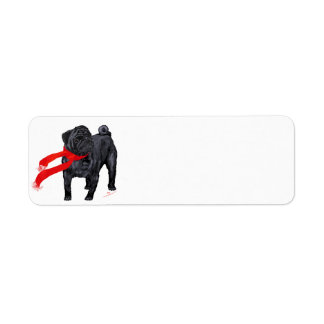 Pugs in Red Scarf Custom Return Address Labels