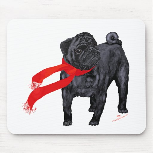 Pugs in Red Scarf Mousepad