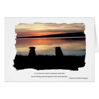 Pugs in Sunset Card