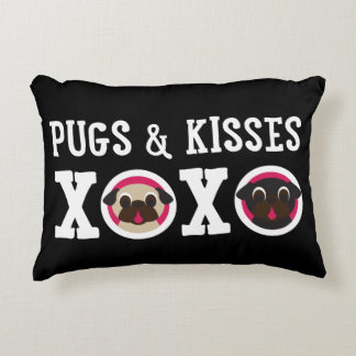 "Pugs & Kisses 12"" x 16"" Throw Pillow Accent Pillow"
