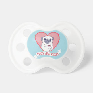 """Pugs & Kisses"" Adorable Baby Pacifier"