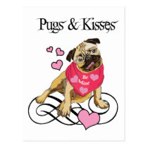 Pugs & Kisses Postcard