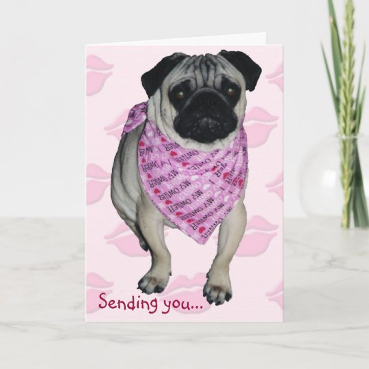 8aa4b3f1f07 Pugs   Kisses Valentine s Day Greeting Card