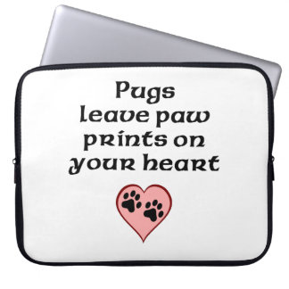 Pugs Leave Paw Prints On Your Heart Computer Sleeve