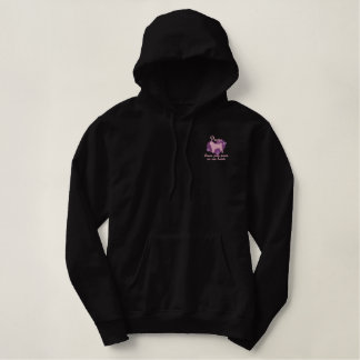 Pugs Leave Paw Prints Pink Embroidered Hoodie