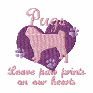 Pugs Leave Paw Prints Pink Embroidered Hoody