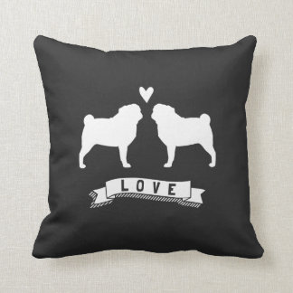 Pugs Love - Dog Silhouettes with Heart Throw Pillow