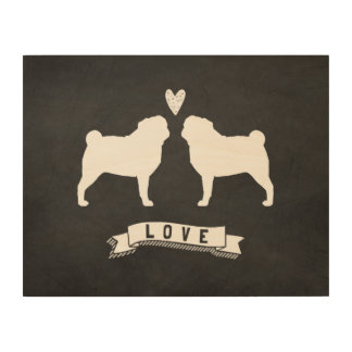 Pugs Love - Dog Silhouettes with Heart Wood Wall Decor