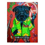 Pugs Love Peace Postcard