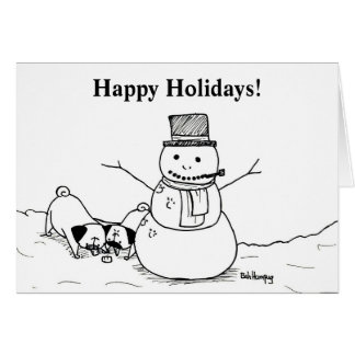 Pugs Love Snowmen Card