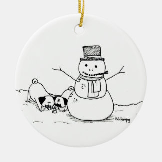 Pugs Love Snowmen Ceramic Ornament