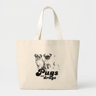 PUGS NOT DRUGS 2 LARGE TOTE BAG