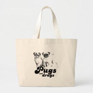 PUGS NOT DRUGS 2 LARGE TOTE BAG