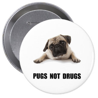 Pugs Not Drugs 4 Inch Round Button