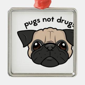 Pugs Not Drugs Square Metal Christmas Ornament
