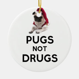 Pugs Not Drugs Double-Sided Ceramic Round Christmas Ornament