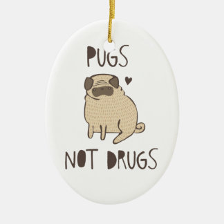 Pugs Not Drugs Double-Sided Oval Ceramic Christmas Ornament