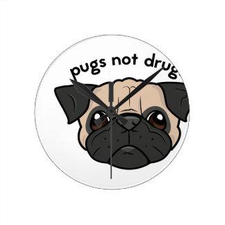 Pugs Not Drugs Round Wallclock