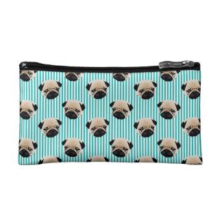 Pugs on Aqua Stripes.jpg Makeup Bag