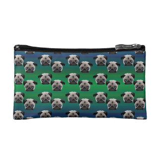 Pugs on Blue and Green Gradient Cosmetic Bag
