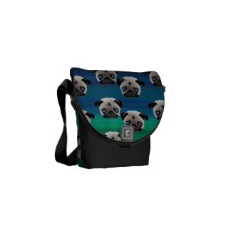 Pugs on Blue and Green Gradient Courier Bags