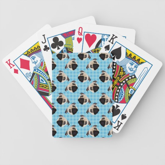 Pugs on Blue Checks 2 Bicycle Playing Cards