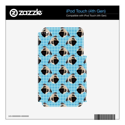 Pugs on Blue Checks 2 iPod Touch 4G Decals