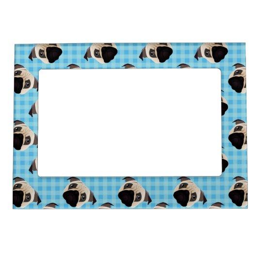 Pugs on Blue Checks 2 Magnetic Frame