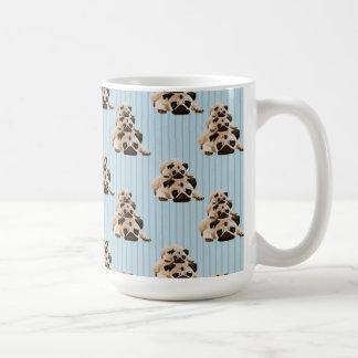 Pugs on Blue Stripes Coffee Mug