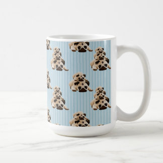 Pugs on Blue Stripes Classic White Coffee Mug